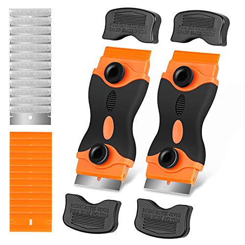 Razor Blade Scraper Tool, 2Pcs Razor Scrapers with Extra 20Pcs Metal & 20Pcs Plastic Blades, Sticker Remover Cleaning Scraper for Removing Paint, Decals, Adhesive, Tar, Labels, Glue, Caulk, Gasket