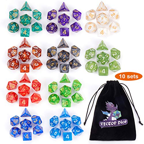 D&D Dice Sets, 10 X 7 Sets (70 Pieces) Polyhedron Dice for Dungeons and Dragons RPG MTG DND Tabletop Game with 1 Big Pouch D4 D8 D10 D12 D20 …