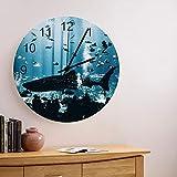 Reloj de pared de madera redondo silencioso sin tictac de 10 pulgadas, vida marina de verano, tiburón en el acuario, reloj de manos con números romanos, decoración del hogar para cocina, sala de estar