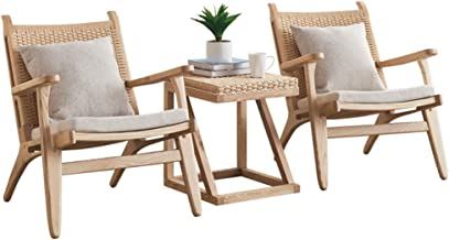 XLOO Advanced,Outdoor Patio Furniture Sets,Patio Rattan Bistro Set,Solid Wood Frame, Natural Rattan, Hand-Woven,with Square Table and Two Chairs.