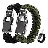WEREWOLVES 2 Pack Paracord Knife Bracelet Tactical Survival Cord Bracelets, Multitool Survival Gear Emergency Knife for Hiking Traveling Camping, Best Gift for Men & Women (Army Green/Black)