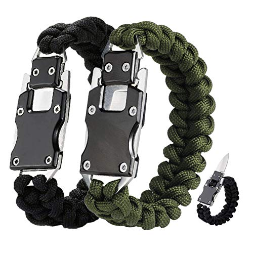 WEREWOLVES 2 Pack Paracord Knife Bracelet Tactical Survival Cord Bracelets, Multitool Survival Gear Emergency Knife for Hiking Traveling Camping, Best Gift for Men & Women (Army Green/Black)