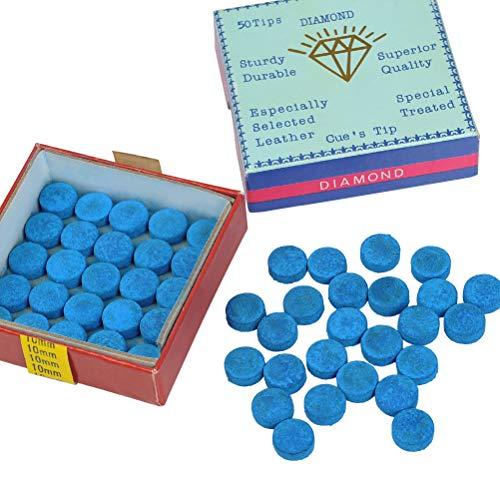 YOTINO 50 sztuk końcówek Cue Tips 10 mm klej na basenie Cue Tips do bilarda Basen Bilard Wymienne końcówki z pudełkiem do przechowywania do snookera i śledzi basenowych niebieski