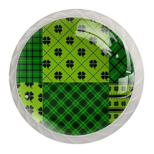 Green Happy St Patricks - Tirador de cajón con diseño de cuadros (4 unidades), color verde