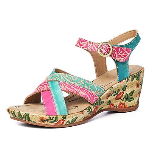gracosy Sandalias Cuero Verano Mujer Estilo Bohemia Zapatos de Tacón