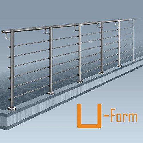 Edelstahl Reling-PLUS-Geländer, U-Form (2x90° Ecke), Bausatz DIY, aufgeschraubte Montage 22,5 m