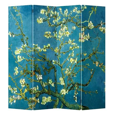Fine Asianliving Paravent Raumteiler Trennwand Spanische Wand Raumtrenner L160xH180cm Bedruckte Canvas Sichtschutz Leinwand Doppelseitig -203-414