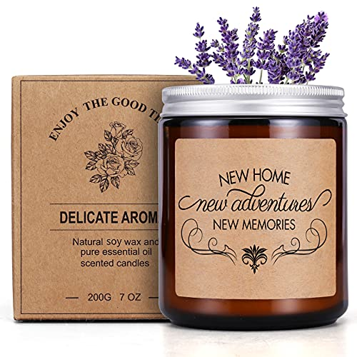Lavender Scented Jar Candle Housewarming Gifts for New Home Apartment First House 95% Soy Wax and 5% Essential Oil Unique Decor Candles Present for Homeowner Women Men Neighbor Best Friend