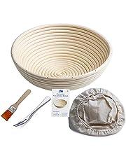 """Bakery Essentials cesta de pruebas 10""""redondo Banneton Brotform cuenco de ratán para masa de pan y cepillo [libre] Borradores de aumento(hasta 1000g) + free liner + libre Pan horquilla"""