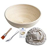 Banneton Proofing Basket 10' Round Banneton Brotform for Bread and Dough [Free Brush] Proofing Rising Rattan Bowl(1000g Dough) + Free Liner + Free Bread Fork