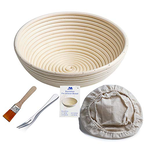 Banneton Proofing Basket 10' Round Banneton Brotform for Bread and Dough [FREE BRUSH] Proofing Rising Rattan Bowl + FREE LINER + FREE BREAD FORK (1000g dough)