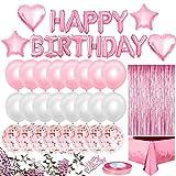 iZoeL Palloncini Rosa Decorazioni, Happy Birthday Festone Di Compleanno, Palloncini Bianchi E Rosa Coriandoli Palloncini, Tovaglia, Tenda A Frange, Per Ragazza, Donne Compleanno