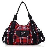 Handbag Hobo Women Handbag Roomy Multiple Pockets Street ladies' Shoulder Bag Fashion PU Tote Satchel Bag for Women (AK812-5P#1894#7#Red/Black)