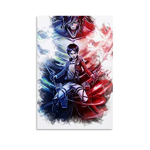 one1love Pster decorativo para pared, diseo de ataque de anime sobre tin, 50 x 75 cm, sin marco