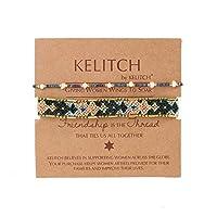 KELITCH 2PCSカラフルストランドブレスレットボヘミアン友情パールビーズブレスレットファッションジュエリー(ブルーグリーンE)
