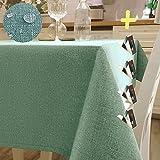 Iycnkok Tischdecke Abwaschbar Stoff Rechteckig Wasserabweisende Gartentisch 140x180cm Tablecloth, 4 Tischdeckenklammern Enthalten, TischwäscheLotuseffekt Leinenoptik für Outdoor Wohnzimmertisch