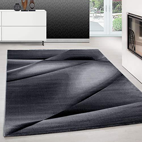 Teppich modern Design Teppich Rechteck Pflegeleicht Abstrakt Linien Schwarz, Maße:80 cm x 300 cm