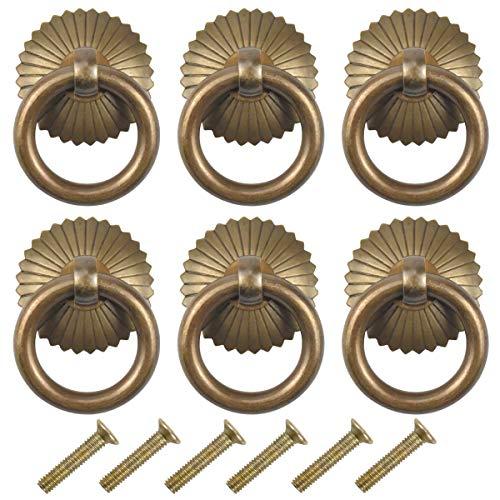6 Piezas Pomos y Tiradores Vintage, Pomo de Armario, Tiradores para Cajones, Manija Anillo de Puertas Armarios de Cocina Muebles (Antiguo)