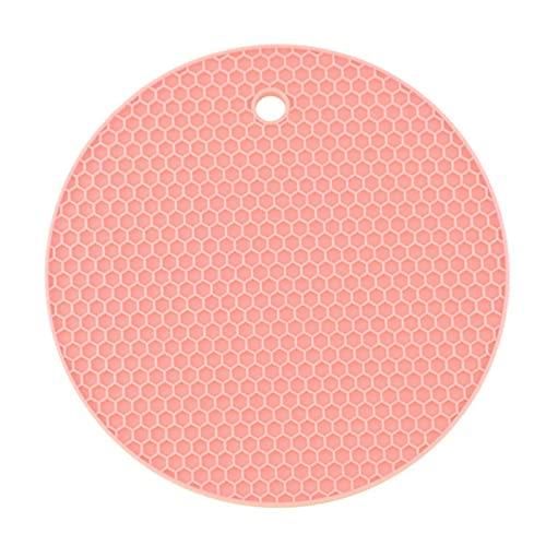 XIAXIAA 2 soportes de silicona para ollas, multiusos, redondos, salvamanteles, abridor de tarros, reposavasos, extra gruesos, rosa