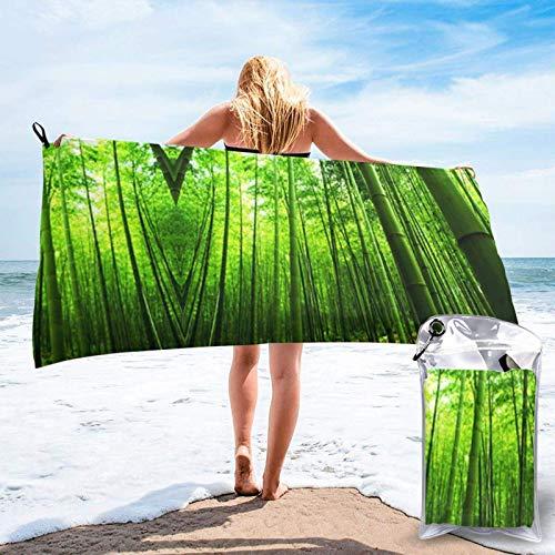 Toalla de secado rápido de microfibra de impresión de bosques de bambú verde, ultra suave, compacta, adecuada para camping, gimnasio, playa, hogar 81.5 x 163 cm
