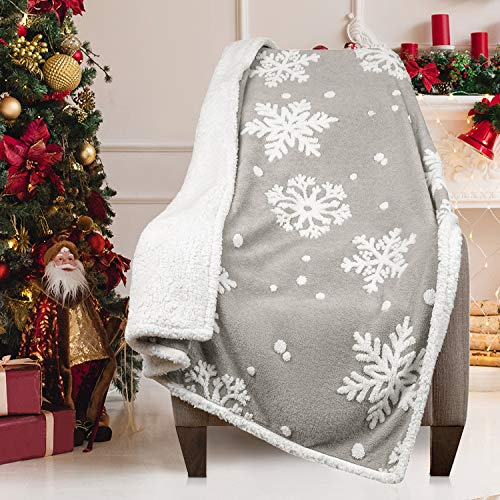 Malinad Christmas Blanket Sherpa Throw - 50x60 Gray Snowflake - Soft, Cozy, Warm - Perfect for Holiday Clearance - Winter Decorations for Home