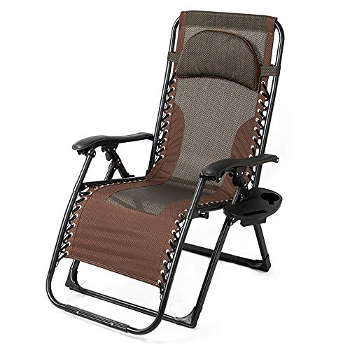 Zero Gravity Chair Capacity Oversized Recliner with Cup Holder, Breathable Fabric, Detachable Headrest, Heavy Duty Folding Chaise for Pool, Patio, Yard
