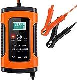 DYHQQ Cargador de batería para automóvil, Cargador y mantenedor de batería 12V 5A Cargador de automóvil Totalmente automático con Pantalla LCD, para automóviles, Motocicletas