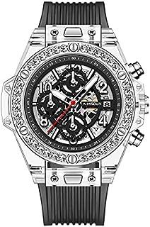 ساعة كوارتز جديدة للرجال والنساء أنيقة فاخرة بسوار من السيليكون الماسي عرض التاريخ مقاومة للماء جودة ساعة معصم