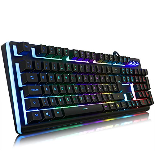 YockTec Semi Mechanical Gaming Keyboard–[UK Layout] [19 Keys Anti-Ghost] [Backlit RGB LED Customizable Lighting][Water-Resistant] USB Wired Gaming Keyboard for PC Gamers MAC Windows PS4 Xbox One/X/S