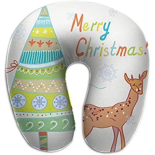 Almohadas,Navidad con Árbol Y Ciervo Almohada De Viaje En Forma De U...