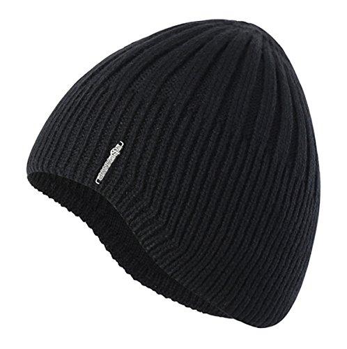 Home Prefer Boys Toddler Knit Beanie Winter Warm Skull Hat Ears Covers Black