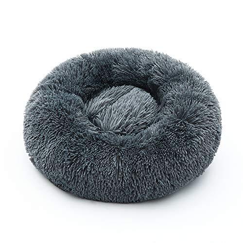 luciphia Hundebett Katzebett Rund Plüsch Weich Bett für Haustier Donut Hundekissen Hundesofa Durchmesser 70cm Grau