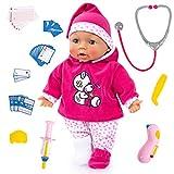 Bayer Design 93841AA, Muñeca Bebé, Doctor Baby, muñeco Habla, Juegos de médicos, con accessorios, Poner Las mejillas Rojas, Rosado, Blanco, Estrellas, 38cm