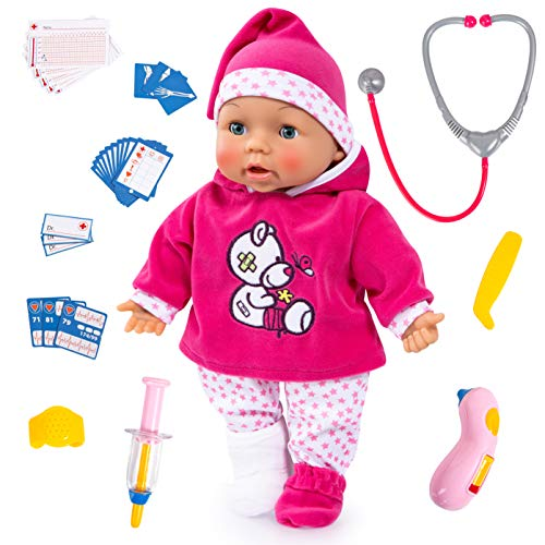 Bayer Design Babypuppe, Funktionspuppe, Doktorpuppe, Doctor Baby 38cm, mit Sounds, Interaktiv, Weichkörper, Schlafaugen, Zubehör, Rosa, Weiß, Sterne