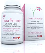 FloraFemme Ultimate Daily Oral Probiotic Supplement - Support Urinary Tract & Vaginal Health - Eliminate Vaginal Odor, Bal...