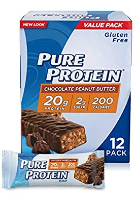 Pure Protein Bars, High Protein, Nutritious Snacks to Support Energy, Low Sugar, Gluten Free, Chocolate Peanut Butter, 1.76 Ounce, 12 Pack by NBTY Sports Nutrition