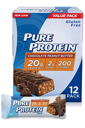 Pure Protein Bars, High Protein, Nutritious Snacks to Support Energy, Low Sugar, Gluten Free, Chocolate Peanut Butter, 1.76 Ounce, 12 Pack