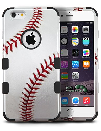 MYTURTLE Sports Fan Series Case for iPhone 8 (2017), iPhone 7 (2016) [4.7-Inch] Shockproof Bumper Cover with [9H Flexible Nano Screen Protector], Realistic Glossy Finish (Baseball)