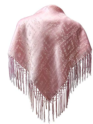 Trachten Mayr Seidentuch Dirndl-Trachtentuch Tuch rosa 75x75cm Dirndltuch Seide Fransentuch für Tracht Trachtenseidentuch mit Fransen Schultertuch Halstuch silk clouth hochwertigste Qualität!