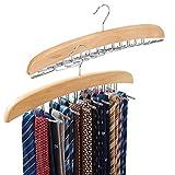 EZOWare 2X Unidades Percha de Madera para 24 Corbatas, Bufandas, o Cinturones, Gancho Giratorio 360°, Color Natural