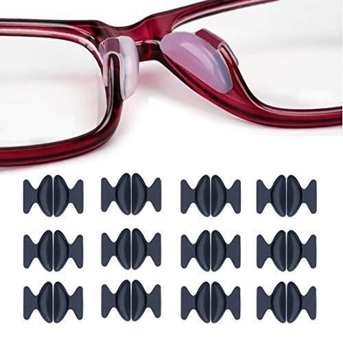 Rutschfeste Nasenpads, 12 Paar 2,5 mm 1,8 mm Non-slip Silicone Nose Pads Adhesive für Brillen Sonnenbrille Lesebrille Pads, Schwarz