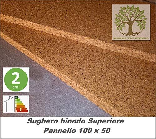 FUTURAZeta - Sughero Biondo naturale spessore 2 cm. (Pacco 5 pannelli) Qualità Superiore densità maggiorata, isolamento umidità,termico e acustico.
