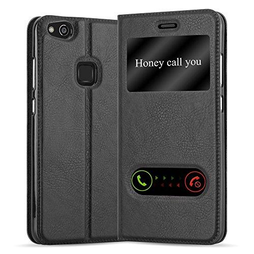 Cadorabo Funda Libro para Huawei P10 Lite en Negro Cometa - Cubierta Proteccíon con Cierre Magnético, Función de Suporte y 2 Ventanas- View Case Cover Carcasa