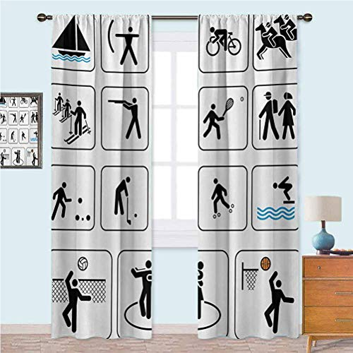 Aishare Store Room Darkening Window Curtains Sports Competition Games Signs Dancing Horse Riding Bowling Athletics Themed Art Customized Curtains 52' x 72' Black White