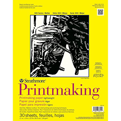 Strathmore 333-11 300 Series Printmaking, Lightweight, 11'x14' Glue Bound, 30 Sheets