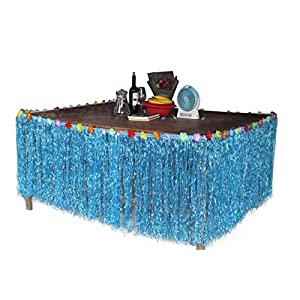 Fighting to Achieve Hawaiian Hibiscus Table Skirt with Color String & Silk Faux Flowers Party Decoration 9 FT