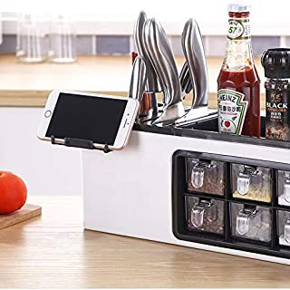 SPICE RACK with Seasoning Jar Storage Box for Flatware Set Knife with, MODERN DESIGN and MANY COMPARTMENTS. KITCHEN ORGANIZER with MULTI FUNCTIONAL look and use. (17.13, 6.57)