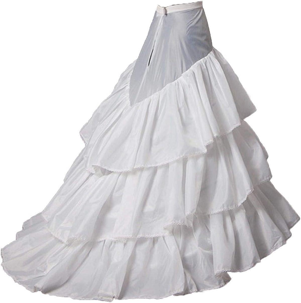 Snowskite Womens 2 Hoops Train Wedding Dress Bridal Gown Petticoat White