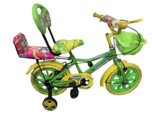 "Rising India 14"" Green Kids Bicycle for 3-5 Years Double Seated with Basket and Side Wheel."