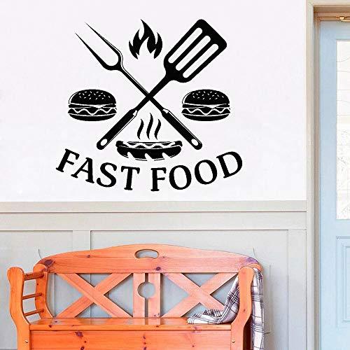 HGFDHG Etiqueta engomada de la Ventana de Comida rápida calcomanía de Vinilo Hamburguesa Comida Deliciosa Restaurante decoración del hogar Cena Cocina